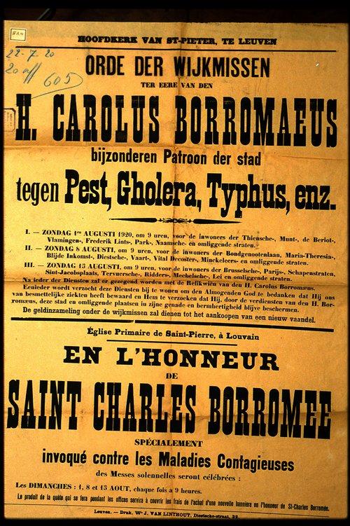 Affiche voor de wijkmis ter ere van H. Carolus Borromaeus, patroon tegen pest typhus en cholera, Leuven (1900-1925) inv. nr. P002724.