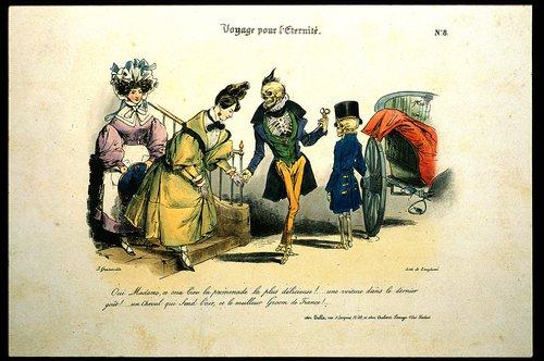 Cholera helpt een dame in een rijtuig voor de eeuwige reis, Pierre Langlumé (1825-1850), inv. nr. P0042