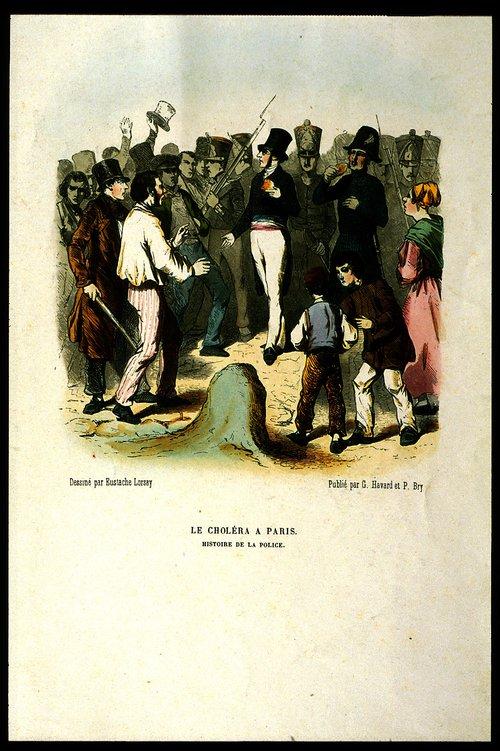 Politie in Parijs tijdens een cholera-uitbraak in 1855 (Reproductie van een gekleurde houtgravure, naar Louis Alexandre Eustache Lorsa), inr nr. P01080.